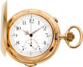 Timepieces:Pocket (pre 1900) , Audemars Freres Large Gold Quarter Hour Repeater With Chronograph,circa 1895. ...