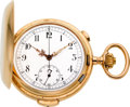 Timepieces:Pocket (post 1900), Record, Swiss, 18k Gold Minute Repeater With Chronograph, circa1908. ...