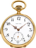 Timepieces:Pocket (post 1900), Swiss 18k Gold Quarter Hour Repeater For Kyrie Bros., circa 1907....