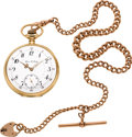 Timepieces:Pocket (post 1900), Agassiz Private Label 14k Gold Watch With 9K Gold Chain, circa 1905. ...