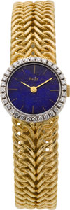 Timepieces:Wristwatch, Piaget Lady's 18k Gold & Diamond Bracelet Watch With LapisLazuli Dial. ...