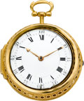 Timepieces:Pocket (pre 1900) , George Tyler London Rare and Unique Gold Clock Watch Presented byQueen Anne to the Earl of Cromarty, circa 1702. ...