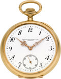 Timepieces:Pocket (post 1900), Patek Philippe 18k Gold Pocket Watch, circa 1908. ...