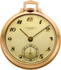 Timepieces:Pocket (post 1900), Rolex 18k Rose Gold Pocket Watch, circa 1920's. ...