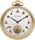 Timepieces:Pocket (post 1900), Dudley Watch Co. Model 3 Masonic Watch, No. 6407, circa 1950. ...