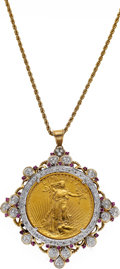 Estate Jewelry:Necklaces, Gold Coin, Diamond, Ruby, Gold Pendant-Necklace. ...