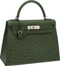 "Luxury Accessories:Bags, Hermes 28cm Vert Olive Ostrich Rigid Kelly Bag with PalladiumHardware, 11.5"" x 8"" x 4.5"", Pristine Condition. ... (Total: 3Items)"
