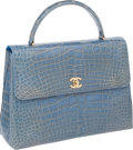 """Luxury Accessories:Bags, Chanel Shiny Sky Blue Alligator Large Classic Top Handle Flap Bag,11.5"""" x 8.5"""" x 4"""", Excellent Condition. ..."""