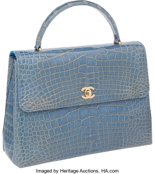 3e32e3d6aaa ... Luxury Accessories Bags, Chanel Shiny Sky Blue Alligator Large Classic  Top Handle Flap Bag ...