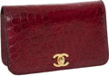 """Luxury Accessories:Bags, Chanel Bordeaux Matte Alligator Classic Clutch Bag with Gold ChainStrap and Twist-lock Hardware, 7.5"""" x 4.5"""" x 1.5"""", Very Good ..."""
