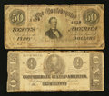 Confederate Notes:1862 Issues, T54 $2 1862. T66 $50 1864.. ... (Total: 2 notes)