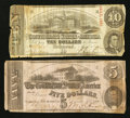 Confederate Notes:1862 Issues, T53 $5 1862. T59 $10 1863.. ... (Total: 2 notes)