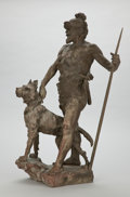 Fine Art - Sculpture, European:Antique (Pre 1900), MARCEL DEBUT (French, 1865-1933). Hunter with Dog, circa1900. Bronze with verdigris. 31 x 19 x 14 inches (78.7 x 48.3 x...