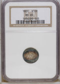 Early Half Dimes: , 1800 H10C MS65 NGC. NGC Census: (5/3). PCGS Population (4/2).Mintage: 40,000. Numismedia Wsl. Price: $34,500. (#4264)...