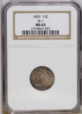 Bust Dimes: , 1809 10C MS65 NGC. NGC Census: (3/0). PCGS Population (2/2).Mintage: 51,065. (#4486)...