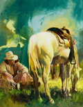Paintings, OLEG STAVROWSKY (Russian/American, b. 1927). A Texas Shower. Oil on masonite. 31 x 24 inches (78.7 x 61.0 cm). Signed lo...