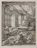 Fine Art - Work on Paper:Print, ALBRECHT DÜRER (German, 1471-1528). St. Jerome in His Study,1514. Engraving. 9-3/4 x 7-1/4 inches (24.8 x 18.4 cm). Med...