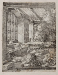 ALBRECHT DÜRER (German, 1471-1528) St. Jerome in His Study, 1514 Engraving 9-3/4 x 7-1/4 inches (