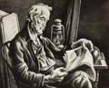 American:Portrait & Genre, THOMAS HART BENTON (American, 1889-1975). Old Man Reading,1939. Lithograph. 10 x 12-1/2 inches (25.4 x 31.8 cm). From t...