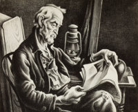 THOMAS HART BENTON (American, 1889-1975) Old Man Reading, 1939 Lithograph 10 x 12-1/2 inches (25