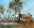 Fine Art - Painting, European:Contemporary   (1950 to present)  , PROPERTY OF A GENTLEMAN. HUGH SAWREY CBE (Australian, 1919-1999). Drovers' Camp. Oil on canvas. 17-1/2 x 21-1/2 inches...