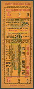 Boxing Collectibles:Memorabilia, 1962 Floyd Patterson vs. Sonny Liston Full Proof Ticket....