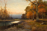 ROBERT WILLIAM WOOD (American, 1889-1979) Catskill Evening Oil on canvas 24 x 36 inches (61.0 x 9