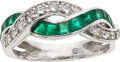 Estate Jewelry:Rings, Emerald, Diamond, Platinum Ring, Oscar Heyman, retailed by Tiffany & Co.. ...
