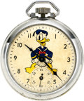Timepieces:Pocket (post 1900), Ingersoll Rare 1939 Donald Duck, Mickey Mouse Back. ...