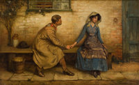 ALLAN D. DAVIDSON (British, 1873-1932) The Lovers Oil on canvas 21 x 34 inches (53.3 x 86.4 cm)