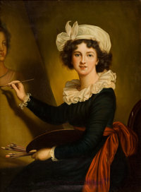 After ELISABETH LOUISE VIGÉE-LEBRUN (French, 1755-1842) Portrait of the Artist at her Easel Oil on c