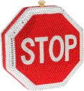 "Luxury Accessories:Bags, Kathrine Baumann #19 Full Bead Stop Sign Minaudiere, 5"" x 5"" x 2"",Excellent Condition. ..."
