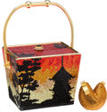 "Luxury Accessories:Bags, Kathrine Baumann #42/50 Full Bead Chinese Take-Out Box &Fortune Cookie Minaudiere, 5"" x 4"" x 4"", Excellent Condition. ..."