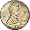 Errors, 1974 Lincoln Cent -- Struck on a 1974 Dime -- MS64 NGC....
