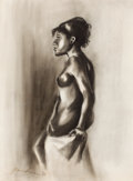 Fine Art - Painting, American:Contemporary   (1950 to present)  , JOHN BIGGERS (American, 1924-2001). Untitled (Nude) , 1969.Conte crayon on paper . 21-1/2 x 15 inches (54.6 x 38.1 cm)...