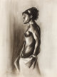 JOHN BIGGERS (American, 1924-2001) Untitled (Nude) , 1969 Conte crayon on paper 21-1/2 x 15 inches (54.6 x 38.1 cm)