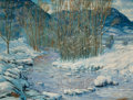 Paintings, CARL VON HASSLER (American, 1887-1969). Winter Landscape, 1924. Oil on canvas. 32-1/4 x 42-1/4 inches (81.9 x 107.3 cm)...