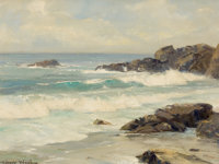 ROBERT WILLIAM WOOD (American, 1889-1979) Laguna Cove Oil on canvas 12 x 16 inches (30.5 x 40.6 c