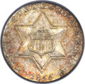 Three Cent Silver, 1855 3CS MS65+ PCGS. CAC....