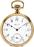 Timepieces:Pocket (post 1900), Howard 14k Gold 19 Jewel Series 5 Bridge Model, circa 1909. ...