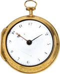 Timepieces:Pocket (pre 1900) , Marmaduke Storr London Gold Verge Fusee, circa 1765. ...