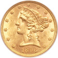 Liberty Half Eagles, 1896-S $5 MS62 PCGS. CAC....