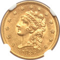 Classic Quarter Eagles, 1836 $2 1/2 Block 8 MS61 NGC. CAC. Second Head of 1837, Breen-6144, Variety-15, R.2.. ...