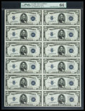 Small Size:Silver Certificates, Fr. 1653W $5 1934C Silver Certificates. Uncut Sheet of Twelve. PMG Choice Uncirculated 64 EPQ.. ...