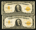 Large Size:Gold Certificates, Fr. 1173 $10 1922 Gold Certificates Two Examples Fine-Very Fine.. ... (Total: 2 notes)