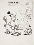 Original Comic Art:Sketches, Robert Crumb Hippy Spoon and Needle Sketch Original Art (c. 1968)....