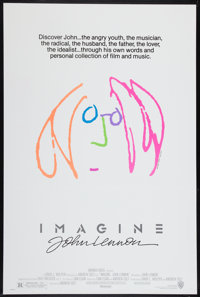 """Imagine: John Lennon (Warner Brothers, 1988). One Sheet (27"""" X 40.5"""") Pink Hair Style. Rock and Roll"""