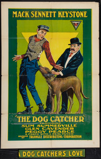 """A Dog Catcher's Love (Triangle, 1917). One Sheet (27"""" X 41"""") Also Known As """"The Dog Catcher."""" Comedy..."""