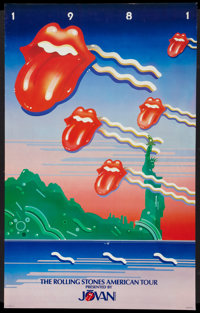 """Rolling Stones 1981 American Tour Presented by Jovan (Jovan, 1981). Promotional Poster (22.5"""" X 36""""). Rock and..."""