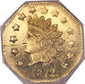 California Fractional Gold, 1872 $1 Indian Octagonal 1 Dollar, BG-1119, High R.5, MS66Prooflike NGC....